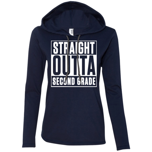 Straight Outta Second Grade   LS T-Shirt Hoodie - TeachersLoungeShop - 4