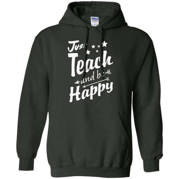 Just Teach and Be Happy  Hoodie 8 oz - TeachersLoungeShop - 5