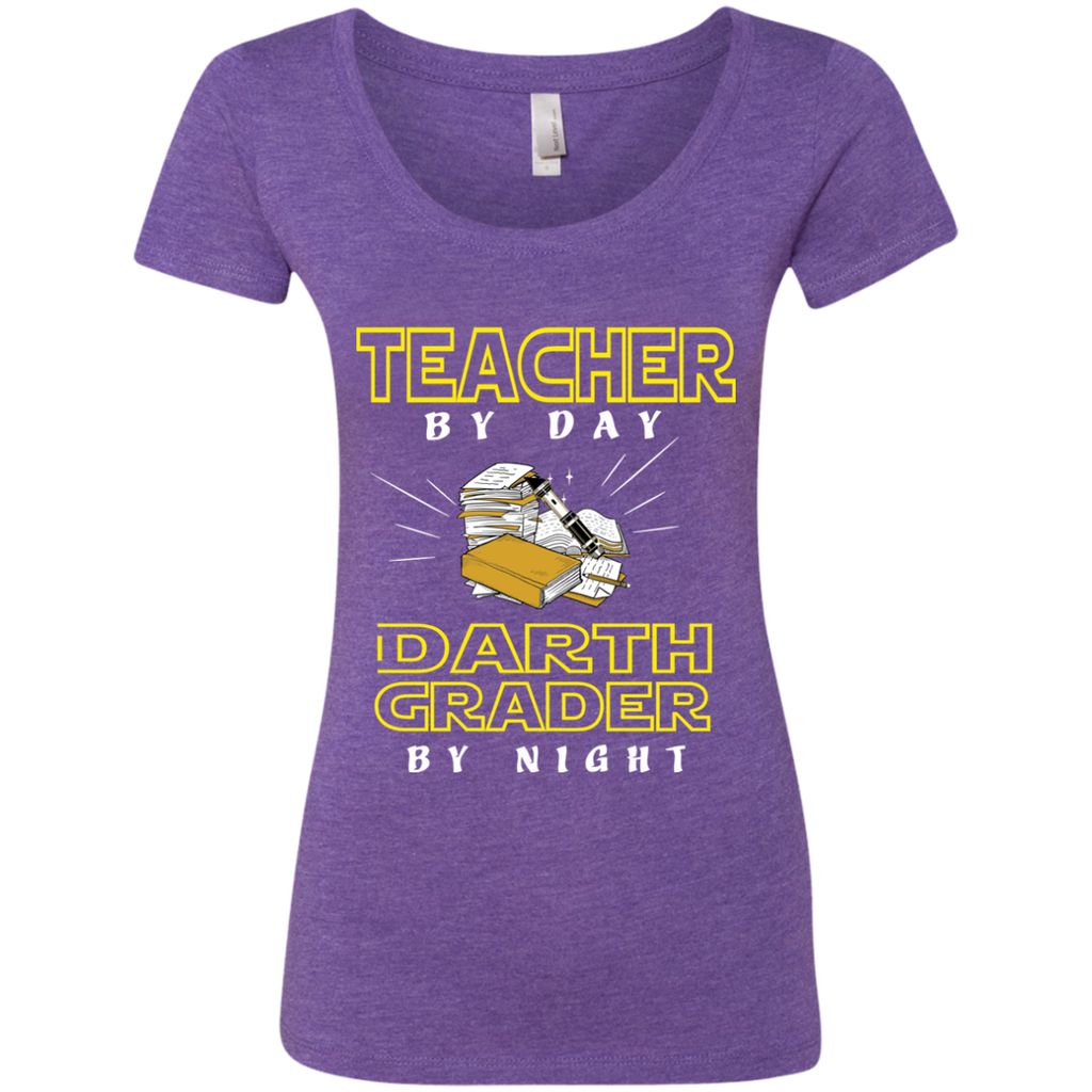 Teacher By Day Darth Grader By Night Next Level Ladies Triblend Scoop - TeachersLoungeShop - 1