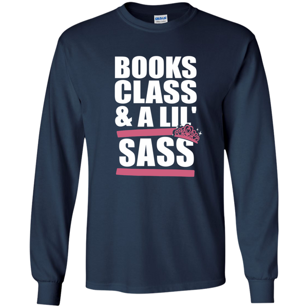 Books Class and A Little Sass LS Ultra Cotton Tshirt - TeachersLoungeShop - 10