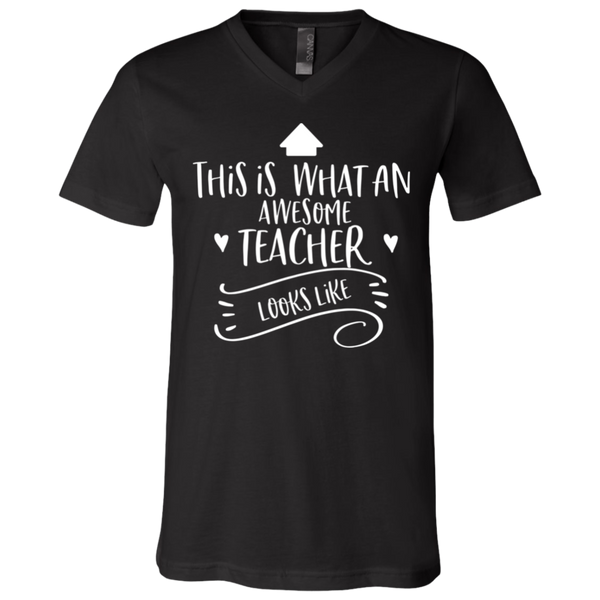 This is what an awesome Teacher looks like  SS V-Neck T-Shirt