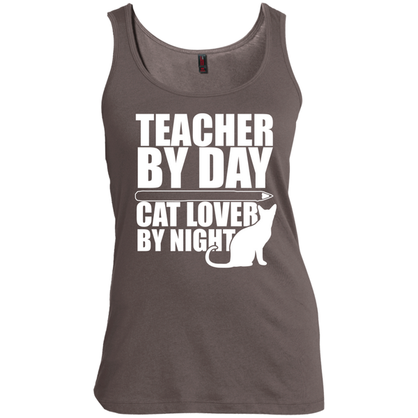 Teacher by Day Cat Lover by Night Womens Scoop Neck Tank Top - TeachersLoungeShop - 1