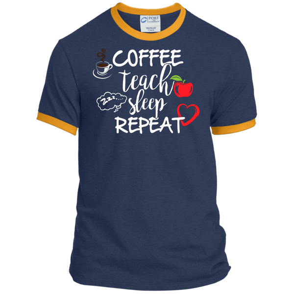 Coffee Teach Sleep Repeat Ringer Tee - TeachersLoungeShop - 6