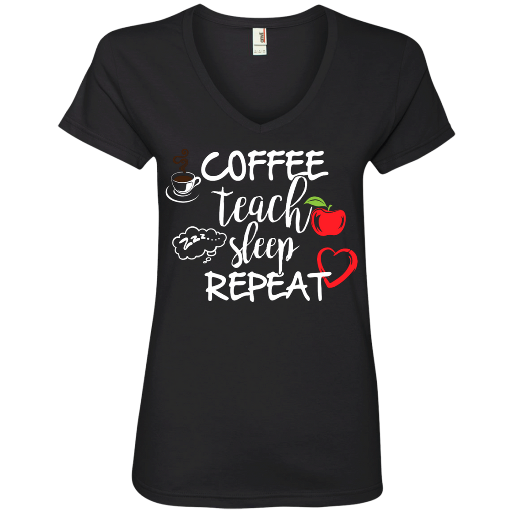 Coffee Teach Sleep Repeat  V-Neck Tee - TeachersLoungeShop - 1