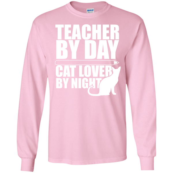 Teacher by Day Cat Lover by Night Ultra Cotton Tshirt - TeachersLoungeShop - 4