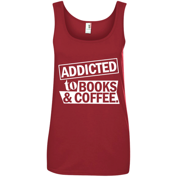 Addicted to Books and Coffee Ladies' 100% Ringspun Cotton Tank Top - TeachersLoungeShop - 3