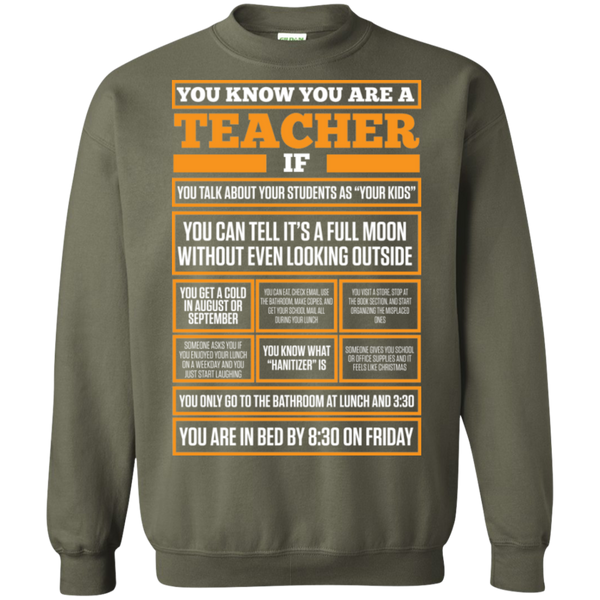 You know You are a Teacher if  Crewneck Pullover Sweatshirt  8 oz - TeachersLoungeShop - 7