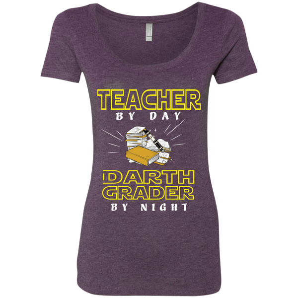 Teacher By Day Darth Grader By Night Next Level Ladies Triblend Scoop - TeachersLoungeShop - 4