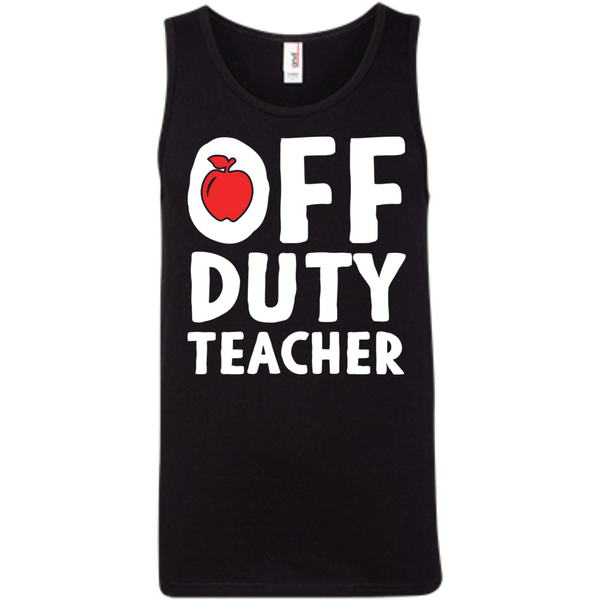 Off Duty Teacher  Ringspun Cotton Tank Top - TeachersLoungeShop - 2