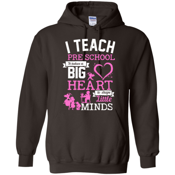 I Teach Preschool It Takes a Big Heart to Shape Little Minds Hoodie 8 oz - TeachersLoungeShop - 3