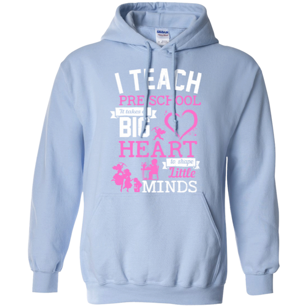 I Teach Preschool It Takes a Big Heart to Shape Little Minds Hoodie 8 oz - TeachersLoungeShop - 6