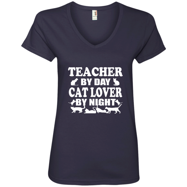 Teacher by Day Cat Lover by Night Ladies' V-Neck Tee - TeachersLoungeShop - 5