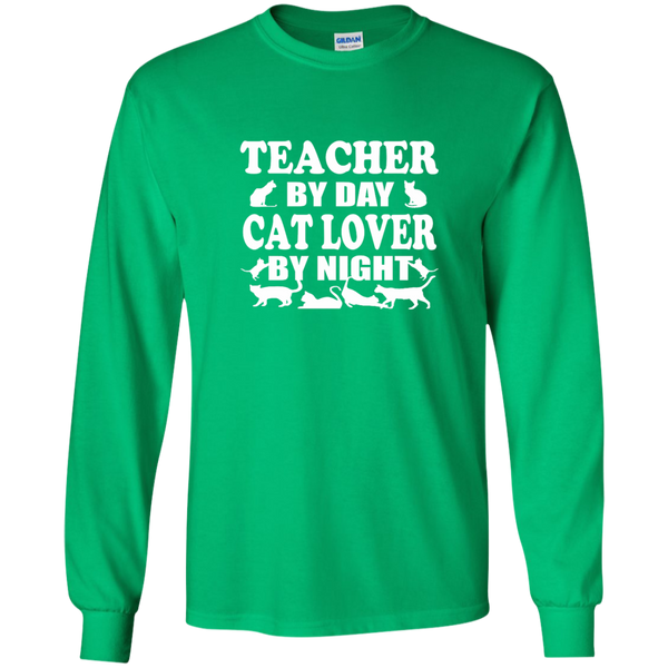 Teacher by Day Cat Lover by Night LS Ultra Cotton Tshirt - TeachersLoungeShop - 4