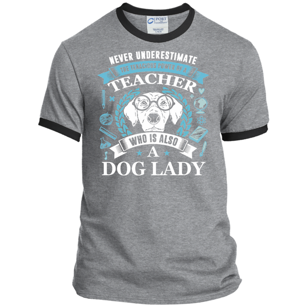 Never Underestimate the Tenacious Power of a Teacher who is also a Dog Lady Ringer Tee - TeachersLoungeShop - 2