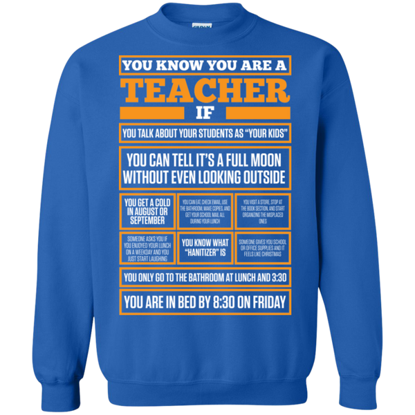 You know You are a Teacher if  Crewneck Pullover Sweatshirt  8 oz - TeachersLoungeShop - 5