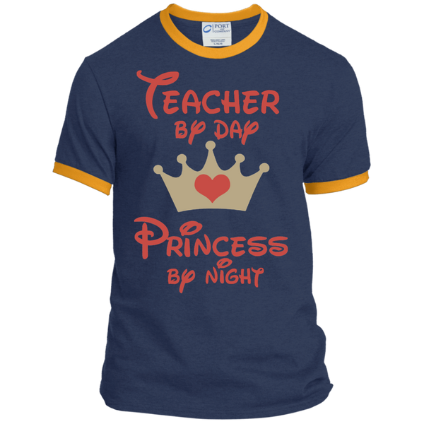 Teacher by Day Princess by Night Ringer Tee - TeachersLoungeShop - 9