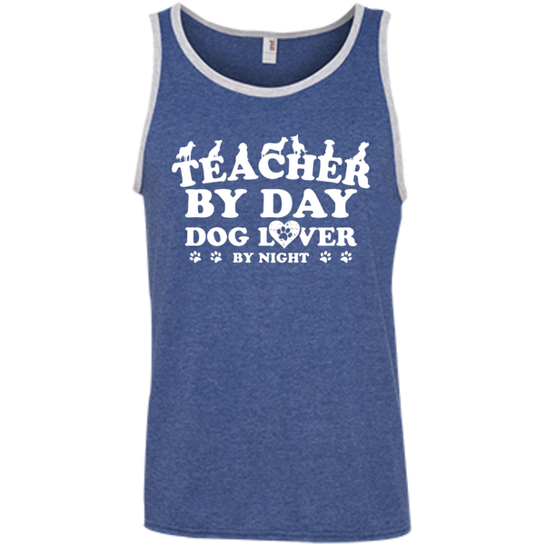 Teacher By Day Dog Lover 100% Ringspun Cotton Tank Top - TeachersLoungeShop - 7