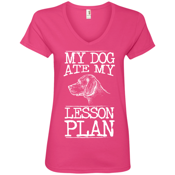 My Dog Ate my Lesson Plan  Ladies V-Neck Tee - TeachersLoungeShop - 3