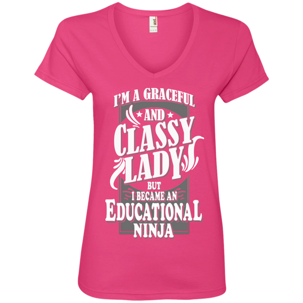 I'm a Graceful and Classy Lady but I became an Educational Ninja Ladies' V-Neck Tee - TeachersLoungeShop - 2