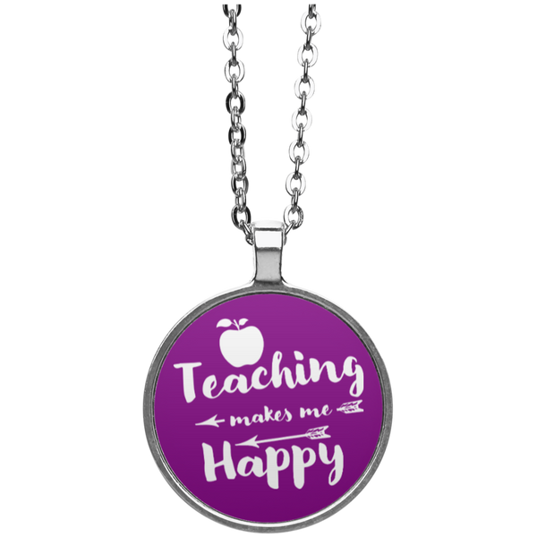 Teaching Makes Me Happy Circle Necklace - TeachersLoungeShop - 4