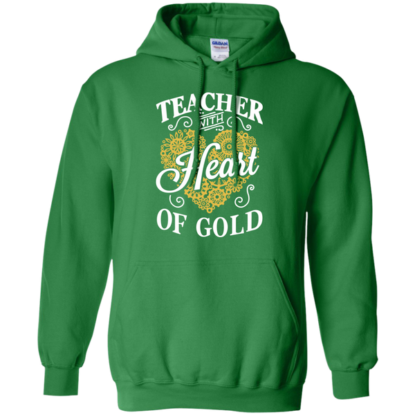 Teacher with Heart of Gold  Hoodie 8 oz - TeachersLoungeShop - 7