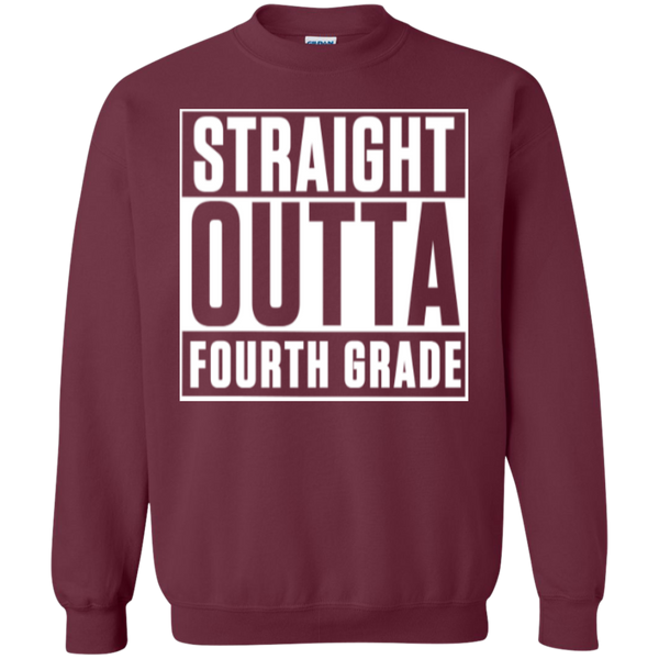 Straight Outta Fourth Grade  Crewneck Pullover Sweatshirt  8 oz - TeachersLoungeShop - 2