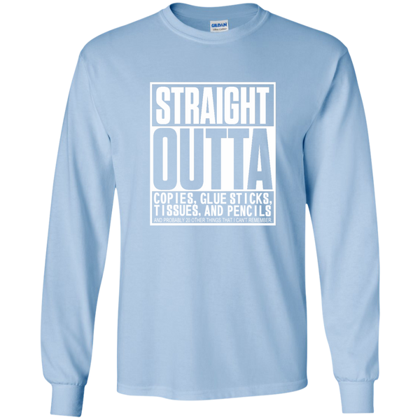 Straight Outta Copies Glue Sticks Tissues and Pencils LS Ultra Cotton Tshirt - TeachersLoungeShop - 5
