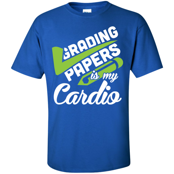 Grading papers is my cardio Cotton T-Shirt - TeachersLoungeShop - 3