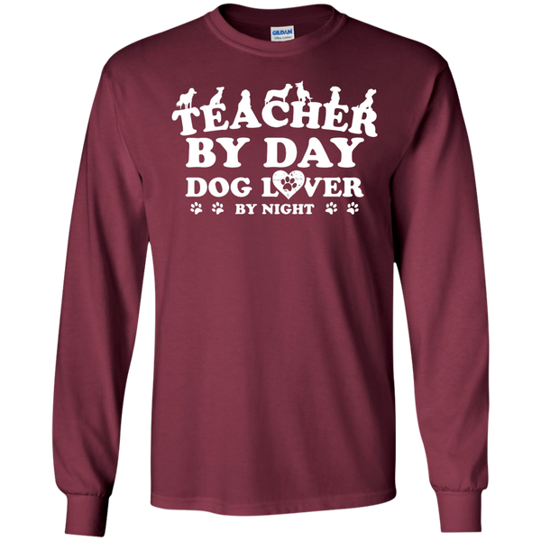 Teacher By Day Dog Lover by Night LS Ultra Cotton Tshirt - TeachersLoungeShop - 4