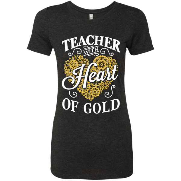 Teacher with Heart of Gold  Level Ladies Triblend T-Shirt - TeachersLoungeShop - 2