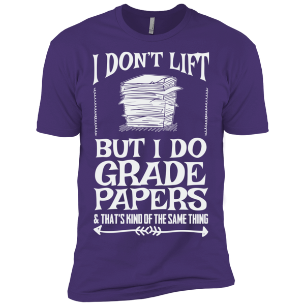 I Dont Lift but I do Grade papers Level Premium Short Sleeve Tee - TeachersLoungeShop - 9