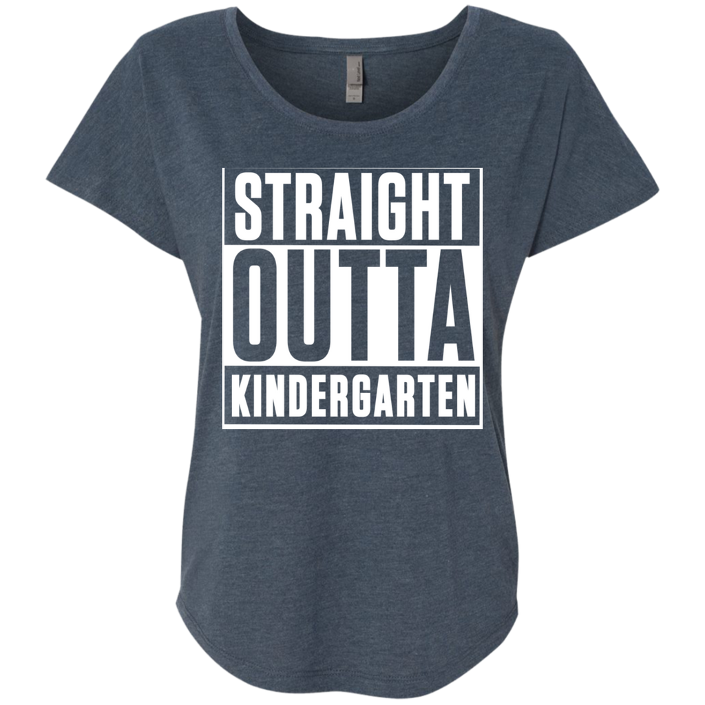 Straight Outta Kindergarten  Level Ladies Triblend Dolman Sleeve - TeachersLoungeShop - 1