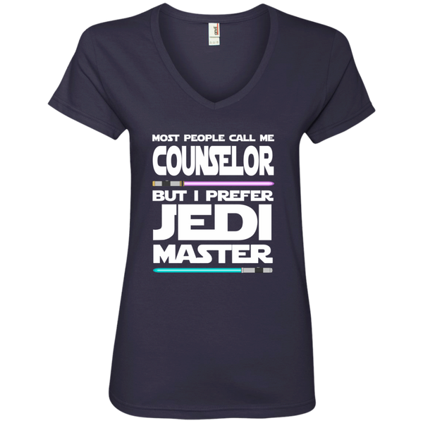 Most People Call Me Counselor But I Prefer Jedi Master Ladies' V-Neck Tee - TeachersLoungeShop - 4