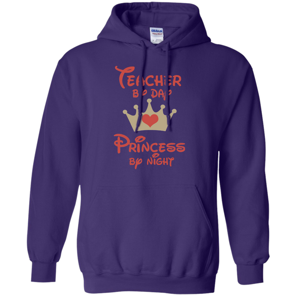 Teacher by Day Princess by Night Pullover Hoodie 8 oz - TeachersLoungeShop - 9
