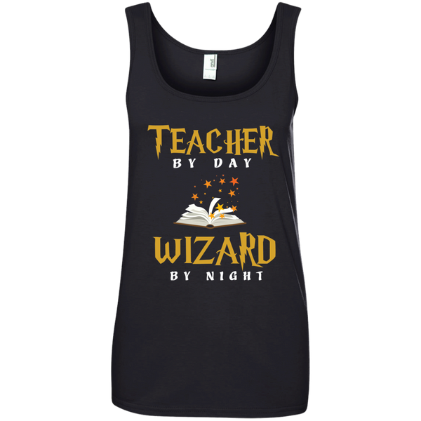 Teacher by Day Wizard by Night Ladies' 100% Ringspun Cotton Tank Top - TeachersLoungeShop - 2