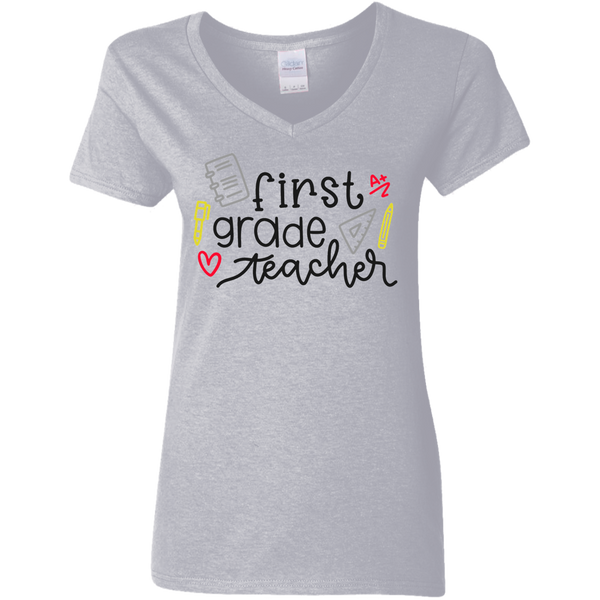 First Grade Teacher Ladies V Neck