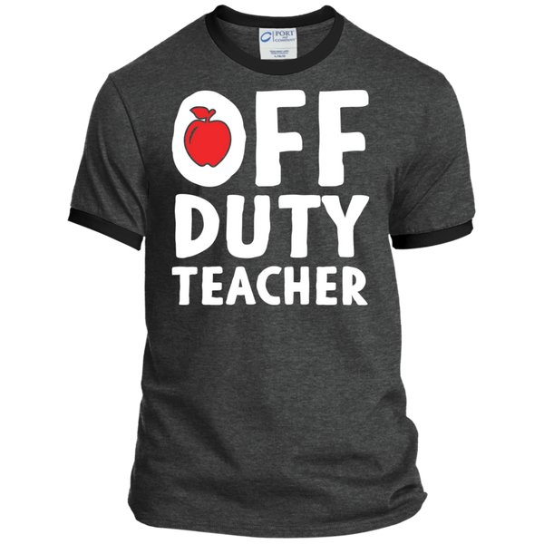Off Duty Teacher Ringer Tee - TeachersLoungeShop - 2