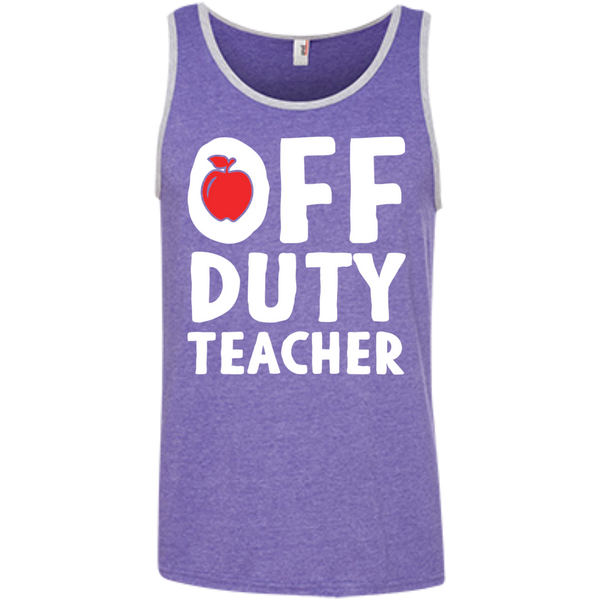 Off Duty Teacher  Ringspun Cotton Tank Top - TeachersLoungeShop - 4