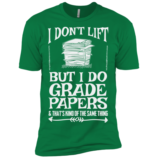 I Dont Lift but I do Grade papers Level Premium Short Sleeve Tee - TeachersLoungeShop - 6