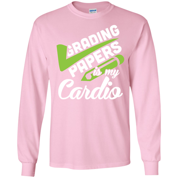 Grading papers is my cardio  LS Ultra Cotton Tshirt - TeachersLoungeShop - 5