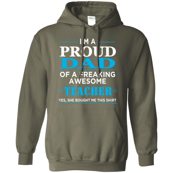 Proud Dad of a freaking awesome Teacher  Hoodie 8 oz - TeachersLoungeShop - 9