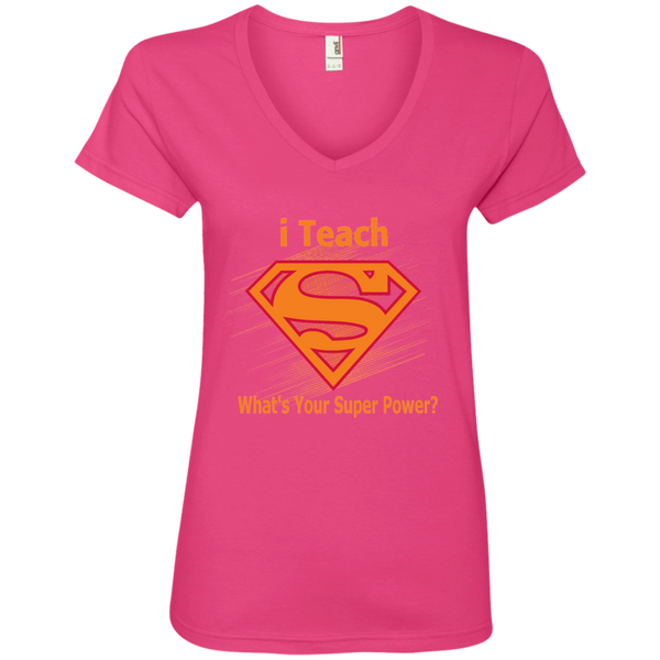 i Teach What's Your Superpower Ladies' V-Neck Tee - TeachersLoungeShop - 3