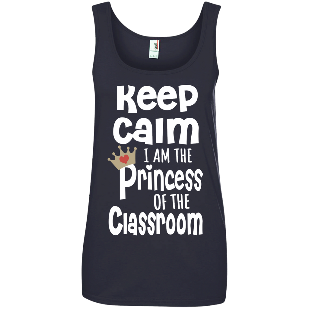 Keep Calm I am the Princess of the Classroom Ladies' 100% Ringspun Cotton Tank Top - TeachersLoungeShop - 1