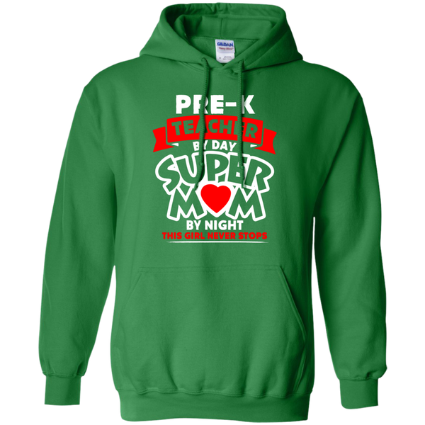 Pre-k  Teacher by Day Super Mom By Night  Hoodie 8 oz - TeachersLoungeShop - 6