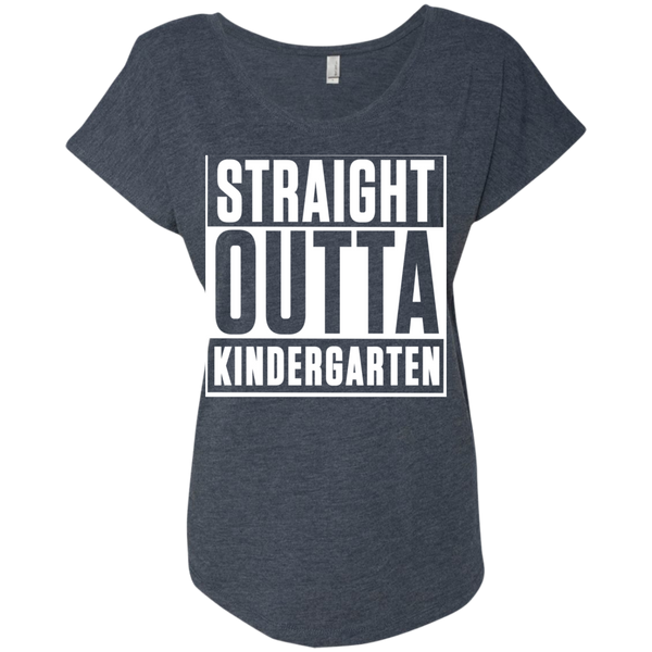 Straight Outta Kindergarten  Level Ladies Triblend Dolman Sleeve - TeachersLoungeShop - 5