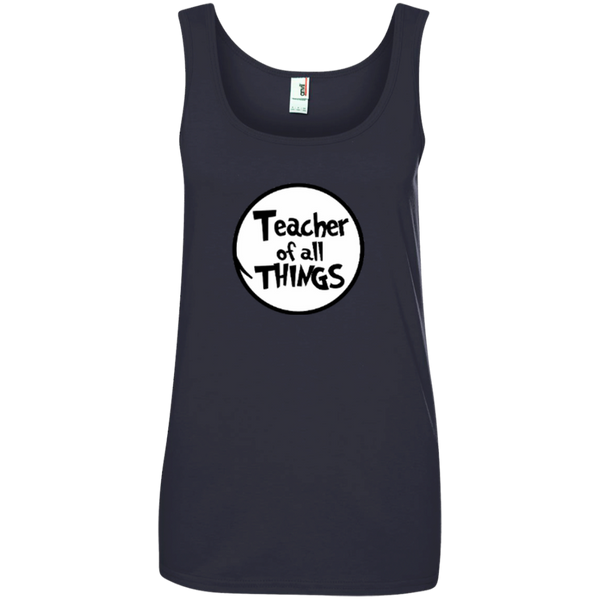 Teacher Of All Things ver2 Ladies' 100% Ringspun Cotton Tank Top - TeachersLoungeShop - 3