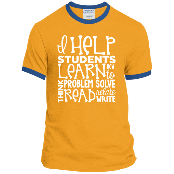 I Help Students Learn Think Problem Solve Read Relate Write Ringer Tee - TeachersLoungeShop - 4