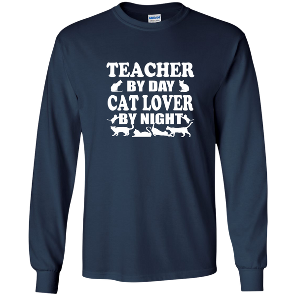 Teacher by Day Cat Lover by Night LS Ultra Cotton Tshirt - TeachersLoungeShop - 9