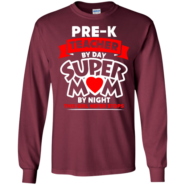 Pre-k  Teacher by Day Super Mom By Night  Ultra Cotton Tshirt - TeachersLoungeShop - 7
