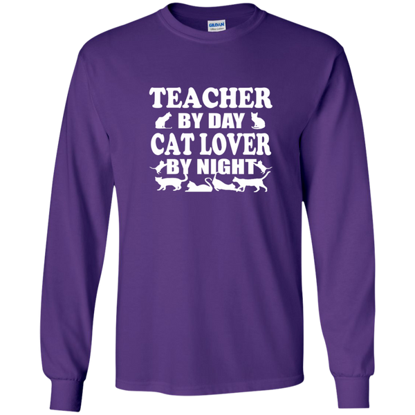 Teacher by Day Cat Lover by Night LS Ultra Cotton Tshirt - TeachersLoungeShop - 10